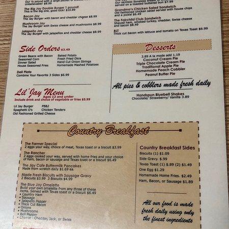 Jay Cafe Menu Needville Tx