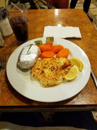 Whippany, NJ: Scrod with baked potato and carrots.