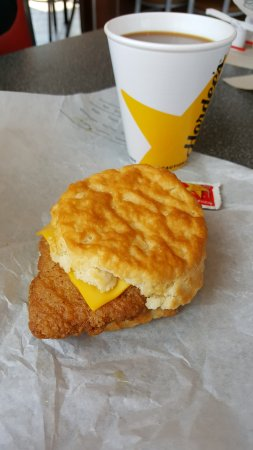Mountain City, TN: A hot, freshly made chicken biscuit with cheese and strawberry jelly