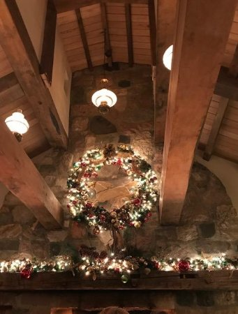 Metamora, MI: The beautiful wreath which hangs above the massive fireplace.