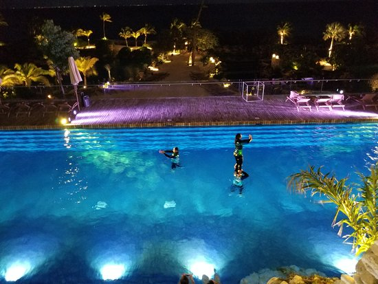 Hotel Xcaret Mexico Pop Up Performance In Fuego Pool