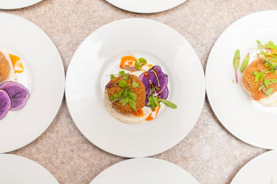 Blind Channel, Canada: Pork croquettes with house grown micro greens and pickled purple potato
