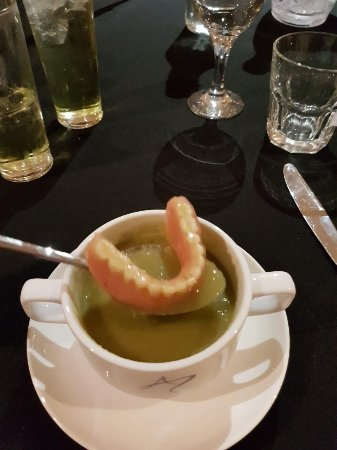 Freya's Restaurant at Aspers Casino: I am telling the tooth, found these in my soup :-D