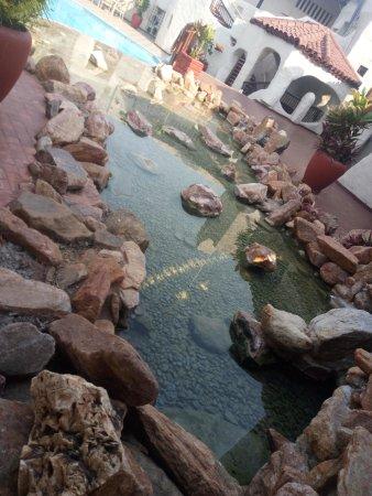 Kariba, Zimbabwe: water feature beside the pool.