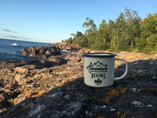 Schroeder, MN: Morning coffee on Lake Superior, while camping at Temperance River State Park.