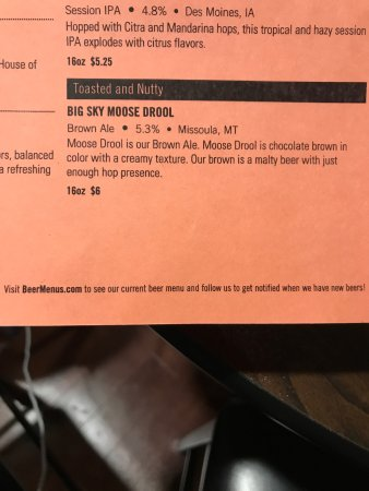 Pleasant Hill, IA: Beer menu example - very discriptive