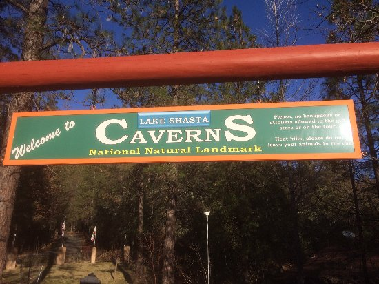 Lake Shasta Caverns: entrance sign by parking lot