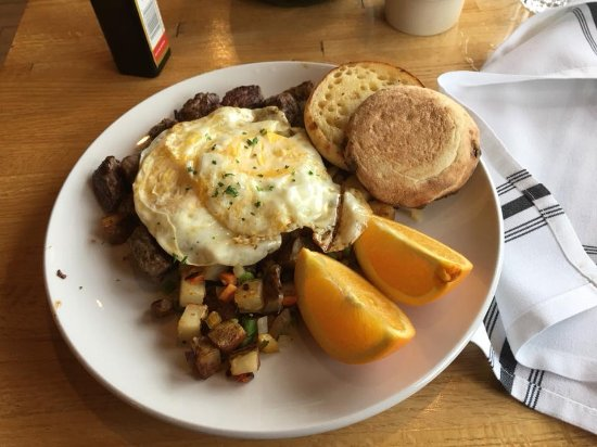 Lutsen, MN: Steak and Eggs, very tasty. The steak was cubed and mixed with potatoes.