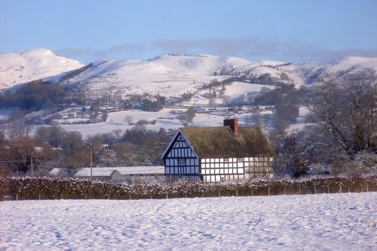 Caersws, UK: Shropshire post-and-beam farmhouse with Long Mynd in the background
