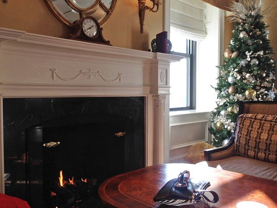 Fairmont Copley Plaza, Boston: Cozy by the fireplace in the Gold Lounge