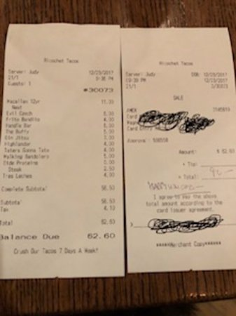 Valparaiso, IN: dinner tab for 3.