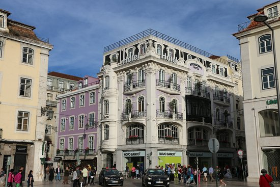 The Internacional Design Hotel from Praça Rossio (Rossio Plaza) in the late afternoon sun.