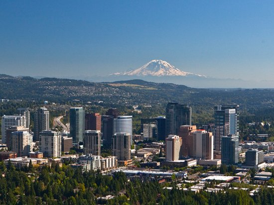 Mt. Rainier is visible on the horizon and a 90 minute drive away. Photo by Visit Bellevue