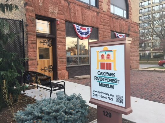 Oak Park, IL: Front entrance of OPRF Museum showing sign on the street