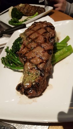 steak entree--mashed potatoes (which my son says are the best ever) hidden underneath