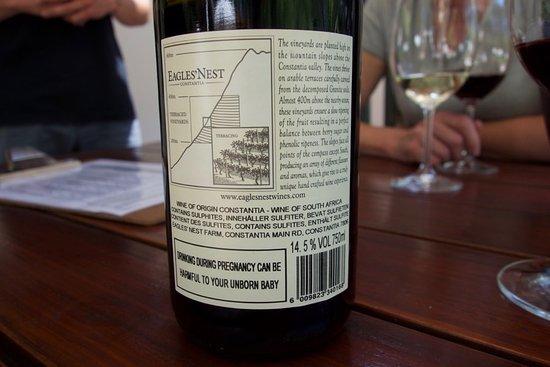 Constantia, جنوب أفريقيا: Rear Label