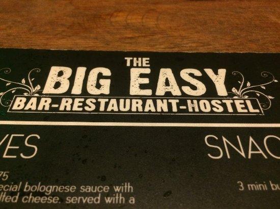The Big Easy: Menu shot