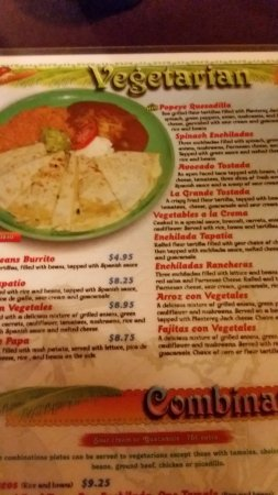 Milton Freewater, OR: Good Vegetarian Menu