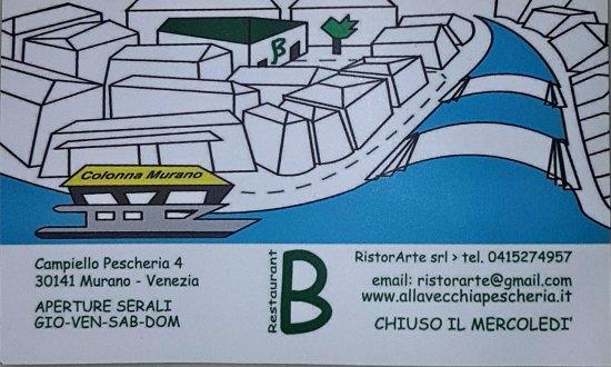 B Restaurant Alla Vecchia Pescheria Carte De Visite Du