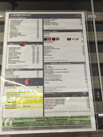 McDonald's: Lista de precios