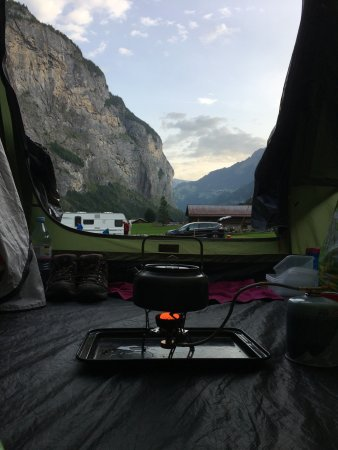 Stechelberg, Switzerland: View from the tent.