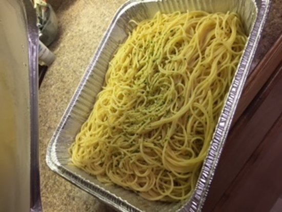 Middleburg Heights, OH: Spaghetti- this is a half pan and it was only half full! Not enough for 14 people!