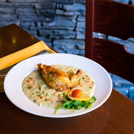Maisy's : mashed potatoes on a butter crust, vegetables, sauce, with slow roasted chicken breast