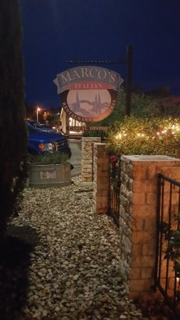 Marco's Italian Restaurant & Pzzr: The front walkway looking toward the Square