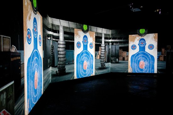 Oak Harbor, WA: This is our 180 degree virtual training lab. It uses real firearms that recoil without live ammo