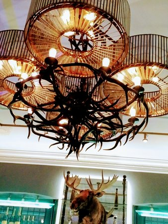 Large antler chandelier with moose head picture of blueblood blueblood steakhouse large antler chandelier with moose head aloadofball Image collections