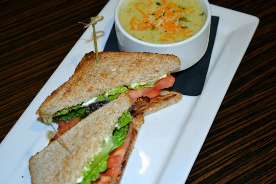 Holiday Inn Hotel & Suites Red Deer South: BLT Sandwich with Cream of Broccoli Soup