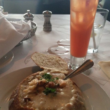 Clam chowder in sourdough bread bowl and the Alcatraz ...