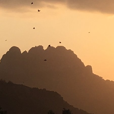 Esentepe, Cyprus: Romantic from hotel terrace over the Five fingers mountain with birds in foreground