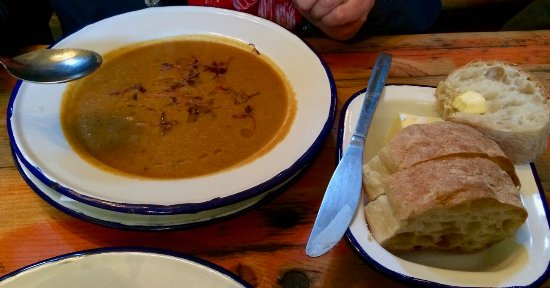 Holbeton, UK : Beachhouse soup (Buttersquash) with crusty bread. £7.50.