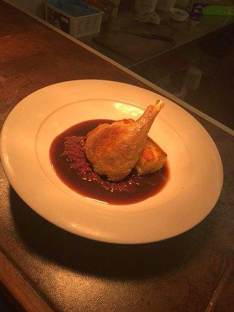 Guisborough, UK: Gressignham Confit Duck Leg with braised red cabbage & potato dauphinoise