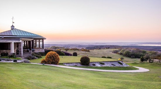Isle of Purbeck Golf Club with a beautiful sunset