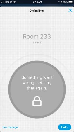 Hilton Garden Inn Schaumburg: Error, got regularly using Digital Key