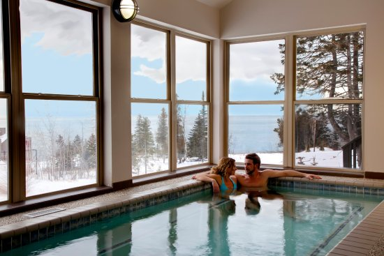 Tofte, Μινεσότα: Surfside on Lake Superior indoor pool & hot tub in Winter
