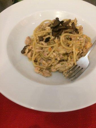 Tessera, Italy: Bigoli pasta with rabbit and summer truffles