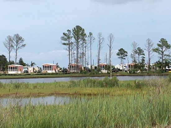 Millsboro, DE: view of lagoon cabins from the other side of the resort