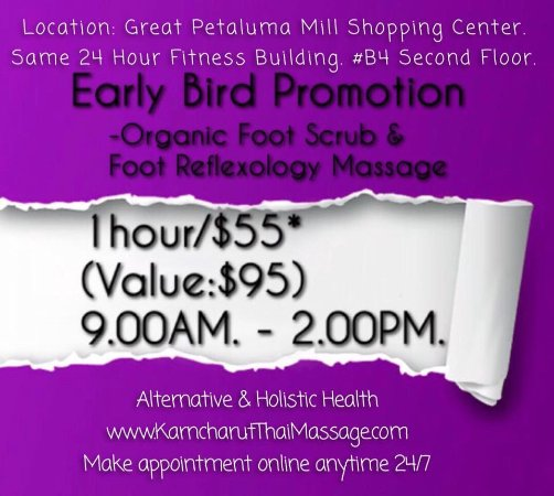 Petaluma, CA: Early Bird Special Promo 1hour/$558 (REG:$95) - Organic Foot Scrub & Reflexology Massage. BookOn