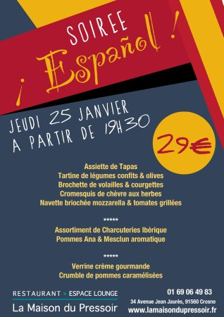 Crosne, France: Soirée Espagnol Jeudi 25 Janvier