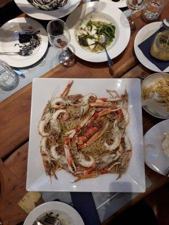 Irakleio, Greece: Linguine with king prawns and crayfish