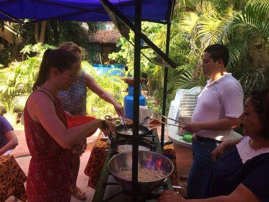 Patio Mexica Cooking School : Frying tortillas for tortilla soup and nachos.