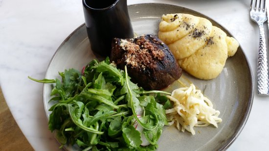 The Reveley: black angus steak with paris mash and rocket and radish salad