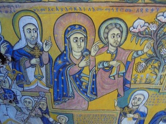 Amhara Region, Etiopia: Ura Kidane Mehret, wall painting on canvas, Lake Tana, Ethiopia
