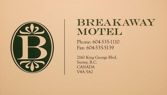 Breakaway Motel: Carte d'affaire en août 2017