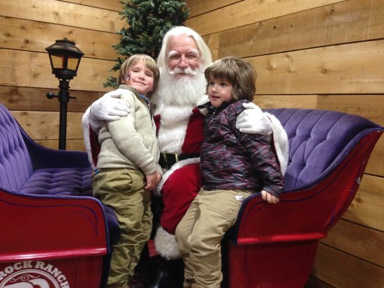 "The gorgeous sleigh and Santa at the Rock Ranch Christmas ""barn"""