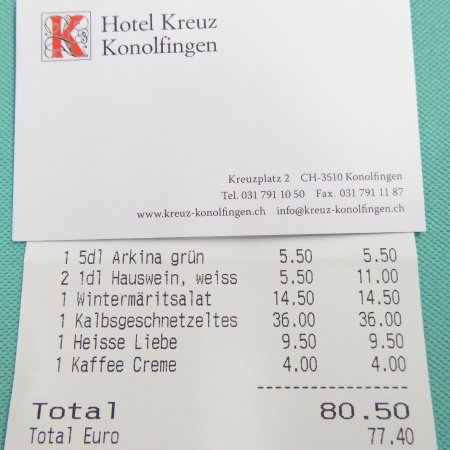Konolfingen, Svizzera: The bill remains at Swiss price level