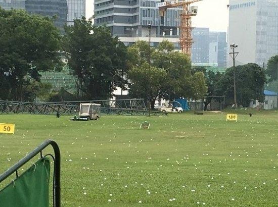 Shenzhen University: ゴルフ練習場内の黒山羊とボールを回収するカート